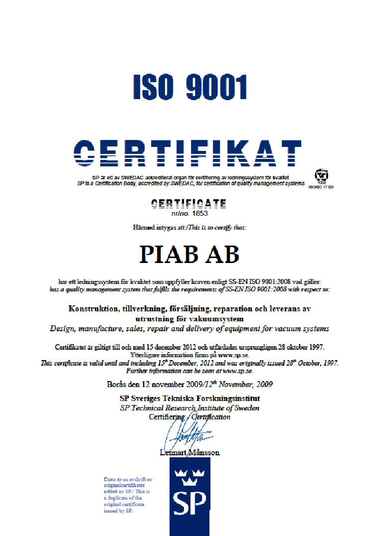 сертификат ISO 9001 Piab